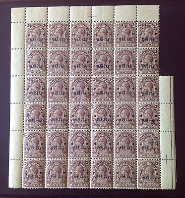 Turks and Caicos 1917 3d War Tax large Part Sheet MNH Odd Gum Bend