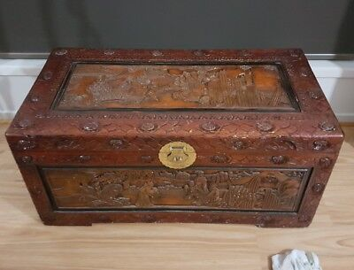Oriental Camphor Storage Chest Trunk - Asian Hand Carved.