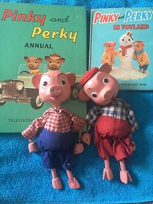 Vintage 1960s Pelham Pinky And Perky Puppets & Books