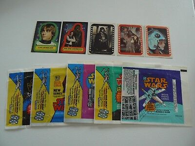** Star Wars 1977 Complete Stickers Sets And Wax Wrappers All 5 Series **