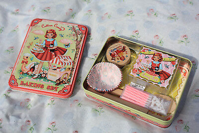 Vintage Style Tin Cotton Candy  Cookies and Cupcakes Baking Set