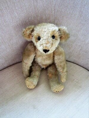 """Tiny 9"""" Rare Antique Old Teddy Bear - Possibly Deans Mouse-Eared?"""