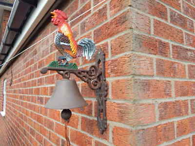 Cast Iron Cockerel Hen Rooster Chicken Wall Bell ~ Antique Style Farm Shed Barn