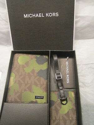 New In Box Michael Kors Painterly Camo Passport Cover/luggage Tag Gift Set