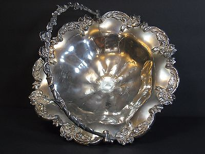 """Antique Victorian Silverplate Brides Basket Repousse/Ornate 12""""Footed, Replated"""