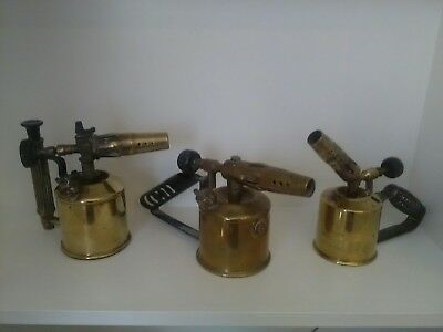 3 Antique Brass Blow Lamps