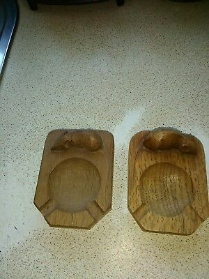 Superb Handed Pair Of Early Robert Mouseman Thompson Ashtrays