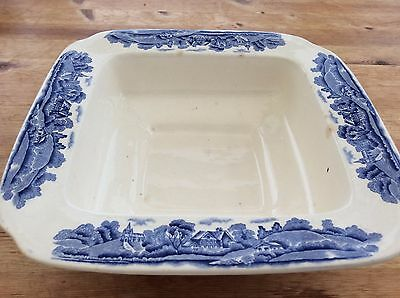Pountney and Co - Bristol -- Blue & White Square Serving Bowl