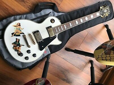 Epiphone Steve Jones Of The Sex Pistols Inspired White Les Paul Custom Guitar