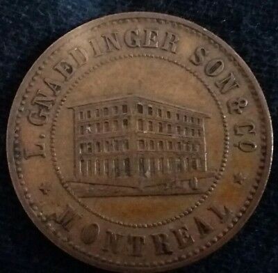 1852 L. Gnaedinger Son &co Merchant Token Montreal  *free Shipping *
