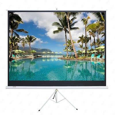 100'' 16:9 Portable Projector Movie Tripod Pull-Up Projection White Screen Matte
