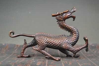 Chinese Fengshui Copper brass Animal Dragon Lucky Statue Free shipping