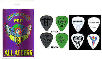Foo Fighters - 2011 Wasting Light Tour - 4 Tour Guitar Pick Set & Backstage Pass