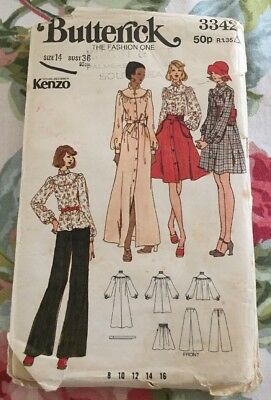 Retro 70s Butterick 3342 Kenzo Dressmaking Sewing Pattern Bust 36""