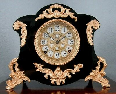 Old Antique Ingraham Black Mantel Shelf Clock 1900 Fully Restored