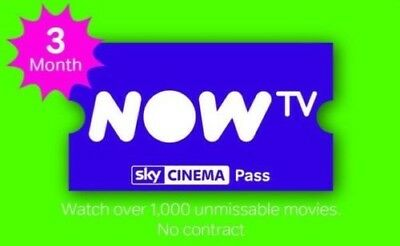 NOW TV 3 Months Movies , Digital code sent by Email within 24hrs