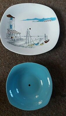 Dessert Plate Midwinter Cannes Hugh Casson and bowl both drilled-cake stand?