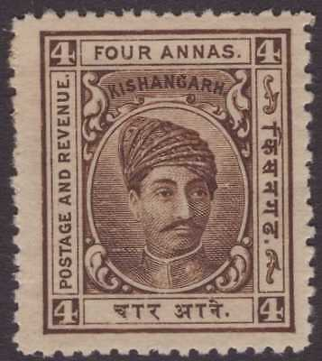 India Feud Kishangarh 1904-10 SG46 4a Brown P.12½ LMM CV£27