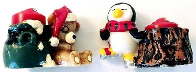 2 Vintage Christmas Wax Candle Holder Bear And Penguin Jasco Christmas Friends