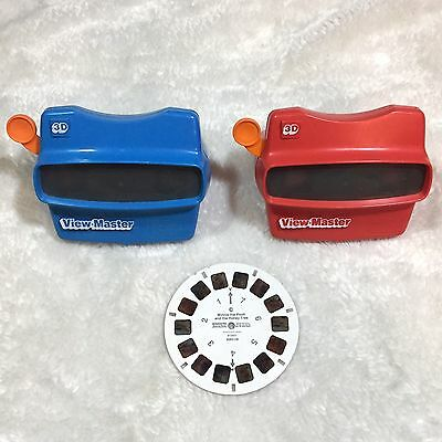 VTG View-Master 3D 2x Viewers Blue + Red + 1 Winnie The Pooh Reel C Made In USA
