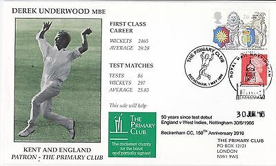 cricket FDC first day cover Kent Derek Underwood 50 years since debut Beckenham