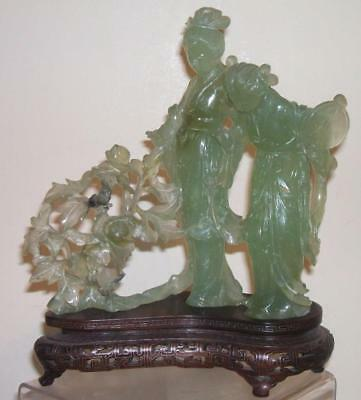 A Fine Chinese Carved Jade Jadeite Guanyin Figures Statue