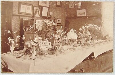 Real Photo Postcard WEDDING BREAKFAST TABLE Cake Marriage House Antique Advert