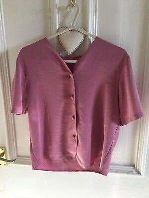 Vintage Button Through Up Blouse Pink 80's 90's V Neck 8 10 12