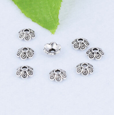100pcs Tibetan Silver Bead End Caps Fashion Jewelry Crafts Findings 7mm