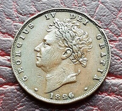 (E22) UK BRITISH 1826 GEORGE IV 2nd ISSUE ONE FARTHING COIN