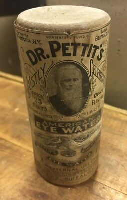 Dr Pettit's Eye Water Large Wooden Vial Antique Quack Patent Medicine Durggist