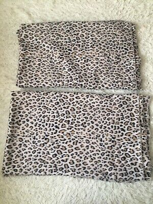 Pair Leopard Print Fleece Sofa Throws