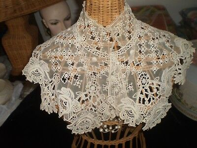 Antique Vintage Estate Victorian French Lace Ladies High Wide Collar Ex Cond
