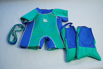 Build A Bear Teal/Blue Wet Suit, Fins, and Mask
