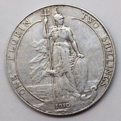 1910 Edward Vii .925 Silver Florin/two Shillings Coin
