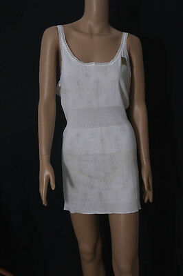 "Vintage St Michael Ladies White Combed Cotton Vest 44-46"" Bust (969-70)"