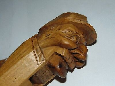 Great Vintage Carved Treen Black Forest Man Face Wearing A Cap Nut Cracker
