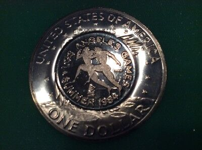 1984 Olympic Games Re-Strike 1971 40% Silver Proof Ike Dollar clad Autographed
