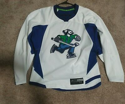 pro stock custom johnny canuck vancouver hockey practice jersey white 56 w/ mods