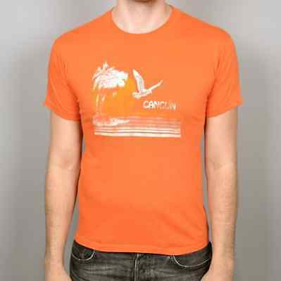 vtg 80s CANCUN tourist tropical beach t shirt orange soft thin M