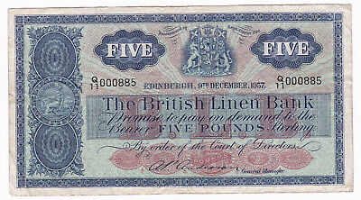 The British Linen Bank 1957 5 Pounds [Nice S/n] [Very Fine Condition] [F/ship]