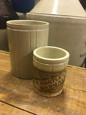 2 Hartley's Marmalade Antique Stoneware Advertising Crock Jar Labeled Jelly Jam