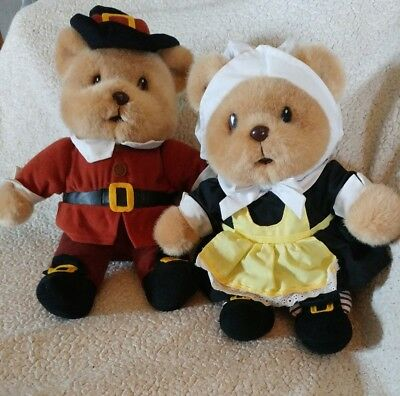 "Pilgrim Bears-  12"" 1997 GIBSON GREETINGS- Plush Stuffed Animal- Set of 2"
