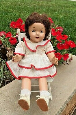 "Vintage 1940s ? Composition UNMARKED 18"" Girl Doll Teeth Blue Eyes Hair Shoes"