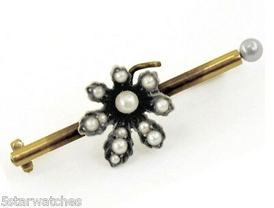 Antique 1800's Georgian Period Natural Pearls Gold Silver Top Flower Pin Brooch