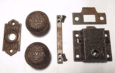 Antique Eastlake Screen Door Knob Lockset Locking Mortise Rim Lock - 3 Available