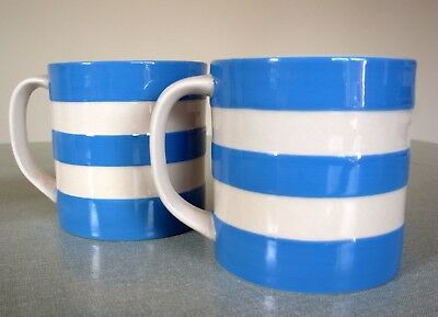 Pair  of Large T G Green Cornishware Blue Mugs 15oz