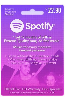 Spotify Premium Account 12 Months (1 Year) Subscription Full Warranty Guaranteed