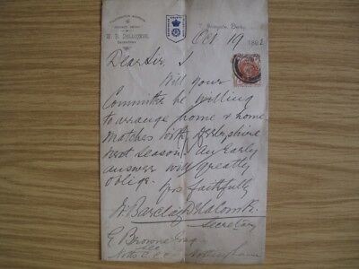 William Barclay Delacombe - Signed Letter On Derby Ccc Letter Paper - 1892