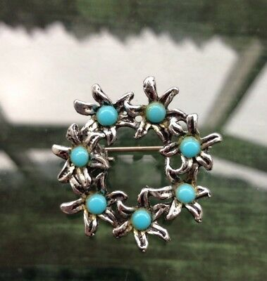 Vintage 60's 70's Silver Tone Turquoise Glass Floral Posy Ring Circle Brooch